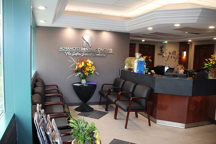 front desk and flowers
